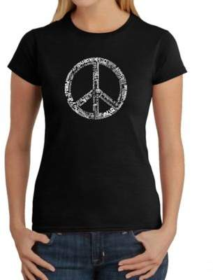 Women's Large Word Art Peace 77 T-Shirt in Black $19.99 thestylecure.com