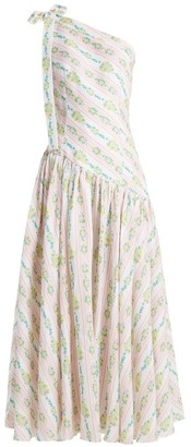 Emilia Wickstead - Simone One Shoulder Linen Maxi Dress - Womens - Pink Print