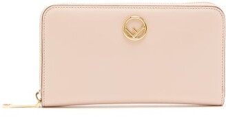Fendi Logo Embellished Continental Leather Wallet - Womens - Light Pink