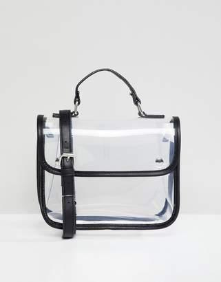 Bershka clear cross body bag with black trim
