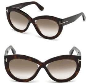 Tom Ford Diane 56MM Cat-Eye Cross Front Sunglasses