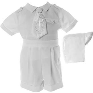 Little Angels Newborn Baby Boy 3pc Christening Short Set with 'Cross' Embroidered Necktie, Epaulets & Hat