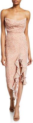 Misha Collection Emilia Cowl-Neck Sleeveless Asymmetric Ruffle Devore Slip Dress