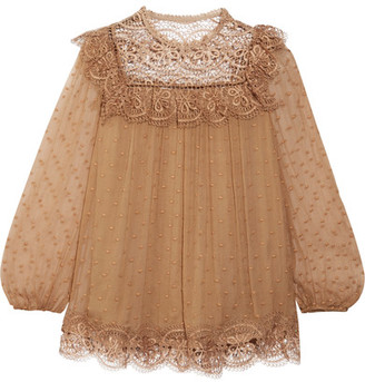 Meridian Circle Lace-paneled Embroidered Silk-crepon Blouse - Camel
