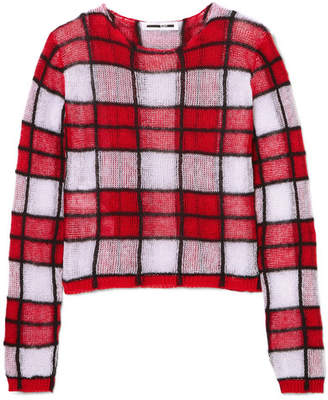 McQ Checked Linen-blend Sweater - Red