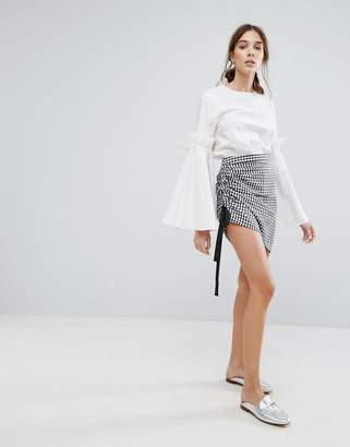 Neon Rose Skirt In Gingham With Ruched Tie Side
