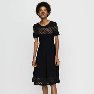 Maje Stretch knit dress with tulle detailing