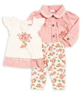 Nannette Baby Girl's Floral Denim Jacket, Tee and Pants Set