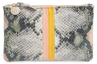 Clare Vivier Stripe Snake Embossed Leather Wallet Clutch