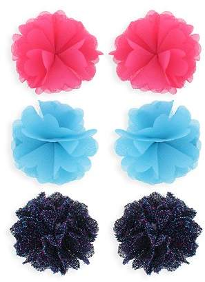 Capelli Girls' Mesh Flower Hair Clips, Set of 6