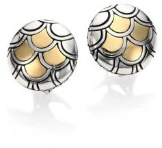 John Hardy Naga 18K Yellow Gold & Sterling Silver Button Earrings $395 thestylecure.com