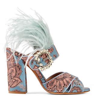 Johanna Ortiz Reyner Embellished Printed Satin Sandals - Sky blue