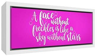 Camilla And Marc Feel Good Art A Face Freckles Is Like a Sky without Stars Contemporary White Wooden Framed Canvas, Wood, Hot Pink, 25 x 63 x 3 cm