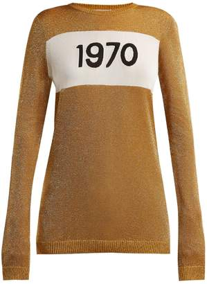 Bella Freud 1970 intarsia Lurex-knit sweater