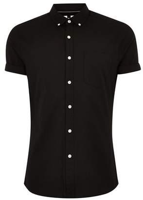 Topman Mens Black Muscle Short Sleeve Oxford Shirt