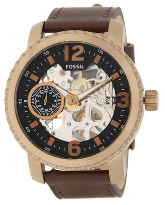 Fossil Men's Nate Mechanical Leather Strap Watch, 50mm