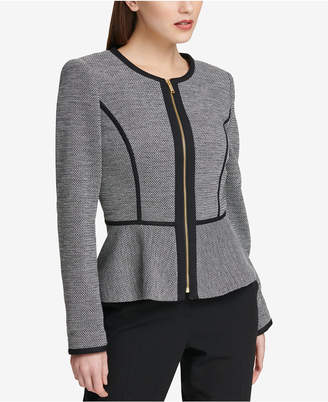 DKNY Knit Piped Peplum Blazer