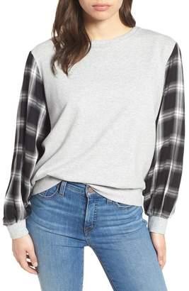 Vince Camuto Plaid Sleeve Sweatshirt (Petite)