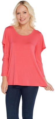 Halston H By H by Scoop Neck Knit Top with Cut-Away Flounce Sleeves