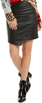 Zadig & Voltaire Lisse Asymmetric Leather Mini Skirt