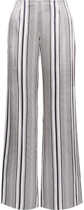 Jonathan Simkhai Striped Silk-satin Wide-leg Pants - Off-white