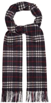 Burberry Vintage Check Cashmere Scarf - Mens - Navy