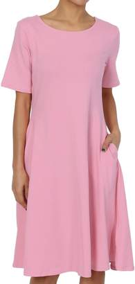 TheMogan Women's Short Sleeve Pocket Stretch Cotton Fit & Flare Dress Hot Pink L