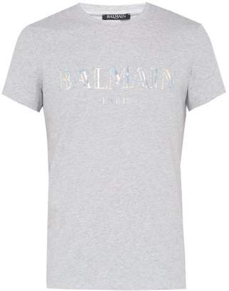 2d801612 Balmain Logo Print Cotton Jersey T Shirt - Mens - Grey