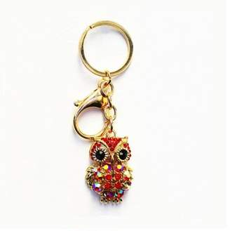 Generic New Owl Rhinestone Pendant Keychain For Use of Bag Car Hangings