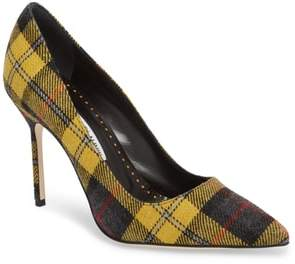 Manolo Blahnik Gingham Pointy Toe Pump