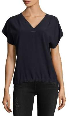 Helmut Lang V-Neck Drawstring Hem Top