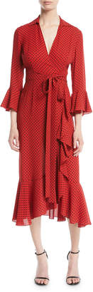 Michael Kors Polka-Dot Silk Georgette Wrap Dress