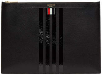 Thom Browne Black Medium Zipper Four Bar Document Holder