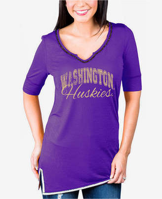 Couture Gameday Women's Washington Huskies Beaded Neckline T-Shirt