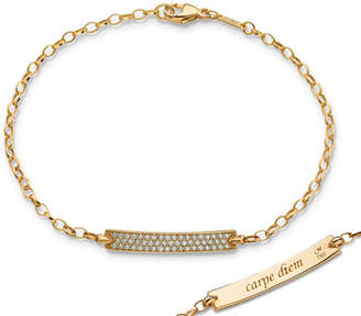 "Monica Rich Kosann 18K Yellow Gold Diamond Pave ""Carpe Diem"" Petite Poesy Bracelet"