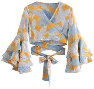 Goodnight Macaroon 'Monique' Tropical Print Ruffled Sleeve Tied Waist Crop Top