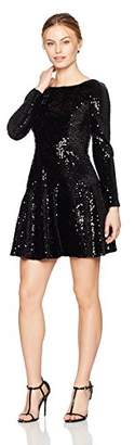Eliza J Women's Long Sleeve Velvet and Sequin Dress (Regular & Petite)