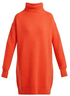 Christopher Kane Chunky Ribbed Knit Cashmere Roll Neck Sweater - Womens - Orange