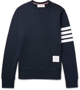 Thom Browne Striped Loopback Cotton-Jersey Sweatshirt $530 thestylecure.com