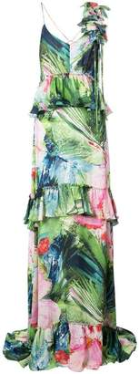 Josie Natori Sunset Palms tiered dress