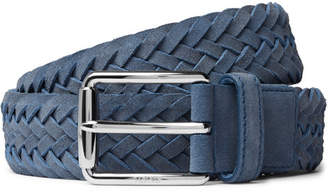 Tod's 3.5cm Blue Woven Suede Belt