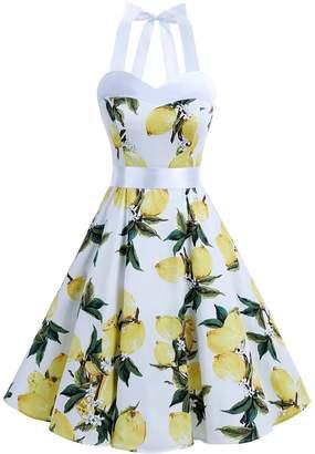 Dresstells reg; Halter 1950s Vintage Audrey Dress Polka Dots Retro Cocktail Dress 3XL