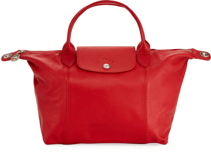 Longchamp Le Pliage Cuir Small Leather Top-Handle Bag with Strap - DARK RED - STYLE