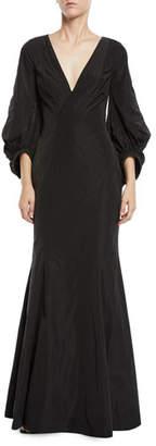 Zac Posen Olivia V-Neck Draped-Sleeve Gown