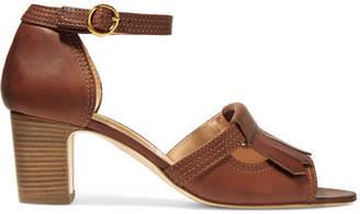 Rupert Sanderson Fringed Leather Sandals - Brown