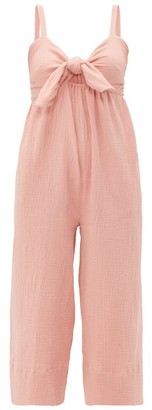 Loup Charmant Triton Tie Front Crinkle Cotton Jumpsuit - Womens - Pink