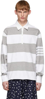 Thom Browne Grey and White Rugby Stripe Polo