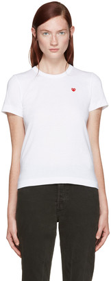 Comme des Garçons Play White Small Heart Patch T-Shirt $85 thestylecure.com