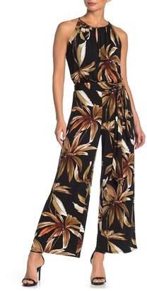 T Tahari Floral Printed Halter Jumpsuit