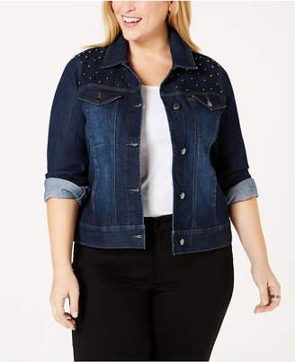 Charter Club Plus Size Studded Jean Jacket